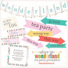 alice in wonderland tea party free printables| the handmade home
