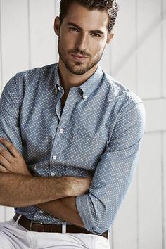 light english grey oxford w/ white pin dots. brown belt. light khaki pants. simple. clean. summer. style.