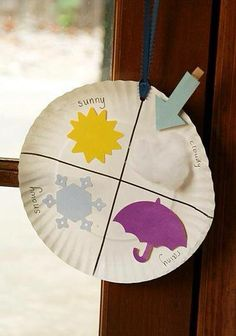 made one of these, E likes it! I don't think he understands but every morning we talk about what the weather is like. weather chart