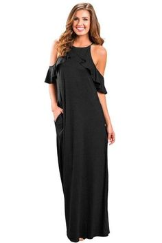 2018 Summer Cocktail Strappy Halter Party Dress Women Sexy Ruffles Sleeve  Cold Shoulder Floor-Length 5b79a16be587
