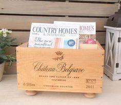 Original Wine Box Magazine Rack 'Chateau Belgrave'
