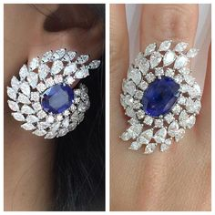 Naji Khoury. Rare natural blue sapphires mounted on an earring and ring with marquise, round and pear shape diamonds.