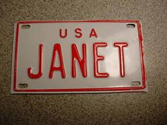 Janet Bicycle License Plate Name Plate USA Vintage Bikeheaven Museum Item | eBay