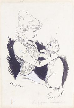 Louis Wain, two, both signed, one titled, the other inscribed with a poem, ink and wash, both unframed