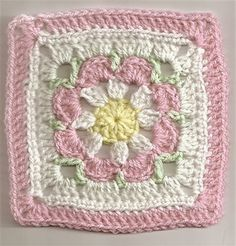 "Just Peachy Blossom by Donna Mason-Svara ""Just Peachy Blossom Free Crochet Granny Square Pattern"", ""Free flower granny square pattern - this would b Motifs Granny Square, Flower Granny Square, Crochet Motifs, Granny Square Crochet Pattern, Crochet Blocks, Crochet Squares, Crochet Stitches, Granny Squares, Beau Crochet"