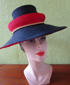 e55f975962c58 Collectors John Frederics Sassy Double Crown Straw Har Navy Red Gold Red  Gold