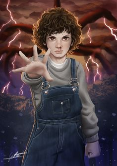 Eleven From Stranger Things 2, Gabriel Vitoria on ArtStation at https://www.artstation.com/artwork/qz0PR