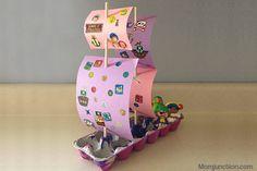 10 ideias de brinquedos caseiros com caixa de ovo- navio pirata