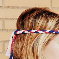 Braided 4th of July headband for women and little girls handmade from eco friendly jersey yarn. Enjoy the party!