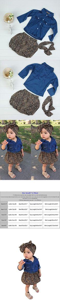 Sunbona 3PC Infant Baby Girl Princess Long Sleeve Denim Shirt Tops+Leopard Skirt Dress+ Headband Set Clothes Outfits (1-1.5T(1~2years), Light Blue)
