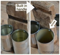 homeroad: Rustic Recycled Tin Can Organizer