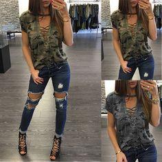 Women Lady Loose Blouse Casual Shirt Tops T-Shirt Summer Short Sleeve Army Green