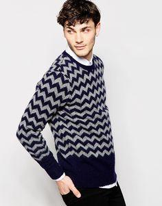 Imagen 1 de Jersey de punto con cuello redondo y rayas en zigzag de Peter Werth