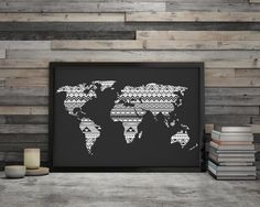 Large floral world map poster world map print 16x20 and 11x14 world map poster large black and white wall art world map download digital print printable poster geometric wall art large map decal gumiabroncs Gallery
