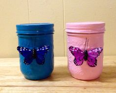 Jar Bank, Piggy Bank, Savings Jar, Pink and Blue Bank, Baby Shower Gift, Baby Gift, Painted Jars with Butterflies, Baby's First Bank,  by BelleMistique on Etsy https://www.etsy.com/listing/234419090/jar-bank-piggy-bank-savings-jar-pink-and