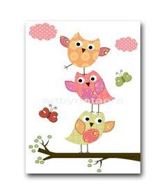 "Art for Children , Kids Wall Art, Baby Girl Room Decor, Nursery print 8"" x 10"" Print,OWL,tree,bird,violet,rose,yellow,artwork,green by artbynataera"