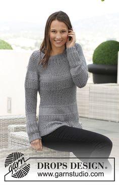 """Sweter DROPS z zaokrąglonym karczkiem i ściegiem ażurowym, z włóczki """"BabyAlpaca Silk"""". Od S do XXXL. ~ DROPS Design"""