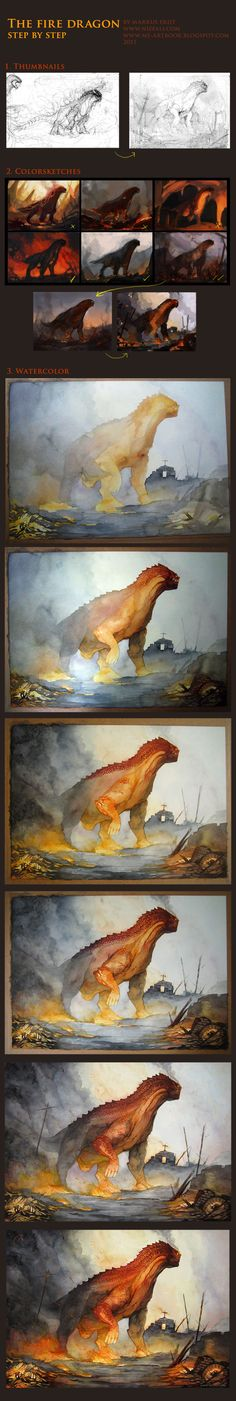 Firedragon WIP by Vaejoun.deviantart.com -- shows how digital ties into her watercolor process