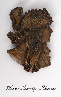 Vintage Alphonse Mucha Lady Art Nouveau Belt Buckle Large Heavy Free Shipping | eBay