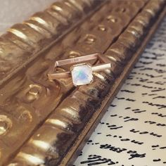 """@escottoriginals """"Is that a square ring?! Sure is! 14k yellow and checkerboard moonstone. Available here at the shop! #escottoriginals #engagementring #righthandring #gold…"""""""
