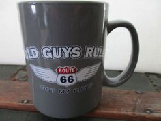 old guys rule route 66 wings got my kicks road coffee mug large 15 oz gray Mugs For Men, Mugs For Sale, Route 66, Mug Cup, Fathers Day Gifts, Thrifting, Coffee Mugs, Kicks, Online Deals