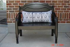 I love this....from a crib...also makes a great headboard with side railings(bumpered in foam and cloth) for youth beds. I do love making gorgeous benches for inside and out from cribs, head/footboards...I made a gorgeous sofa out of a fabulous king size bed!