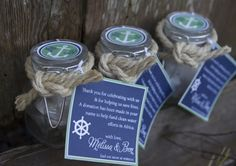 """Homemade nautical themed """" giving """" party / shower favor"""