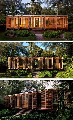 An Architect's Own Tropical Refuge In Miami - Brillhart Architecture have designed and built a home for themselves in Miami, Florida, that includes 100 feet of uninterrupted glass. - Panissue Share dream home in the forest Architektur Container Home Designs, Tropical Architecture, Interior Architecture, Roman Architecture, Architecture Student, Florida Home, Miami Florida, Casas Containers, Building A Container Home
