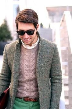 Cable knit sweater back with a herringbone blazer!