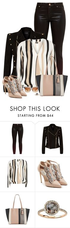 """Neutral Leader"" by seafreak83 ❤ liked on Polyvore featuring Ted Baker, Balmain, Dorothy Perkins, Olgana, Emma Fox, Dolce&Gabbana, black, stripes, nude and outfitonly"