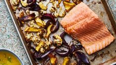 Sheet Pan Salmon and Squash with Miso Mojo Recipe   Bon Appetit