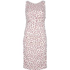 Dolce & Gabbana Fitted Spotty Dress (£725) ❤ liked on Polyvore featuring dresses, robe, round neck dress, sleeveless print dress, zipper dress, print cocktail dress and mixed print dress