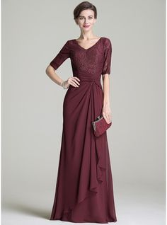 A-Line/Princess V-neck Floor-Length Chiffon Lace Mother of the Bride Dress With Ruffle Cascading Ruffles (008072696) - JJsHouse