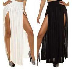Image of Black Double Dip Skirt