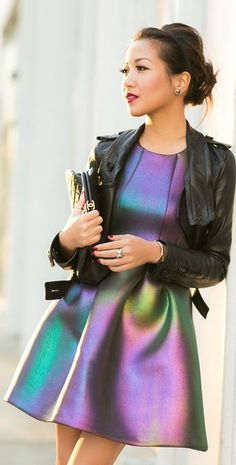 Iridescent Dress Multicolored Metallic new years style #UNIQUE_WOMENS_FASHION