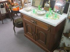 Early 1900's Walnut Marble Top Commode.