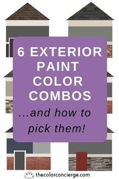 6 Exterior Paint Color Combos (and how to pick them) – Color Concierge - Home & DIY House Exterior Color Schemes, Exterior Paint Colors For House, Paint Colors For Home, Exterior Paint Combinations, Exterior Colors, Exterior Design, Outdoor Paint Colors, Vinyl Siding Colors, Roof Design
