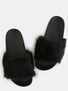339b7f8fb Chic meets casual with the Fluffy Faux Fur Sandals! Features an open toe
