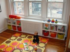 organize -- the box over the heater could be a toybox in Nolan's room....designed to be un-conducive for climbing!!