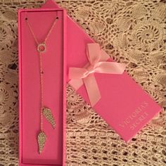"Victoria's Secret Angel Wing Lariat Necklace Victoria's Secret Limited Edition Gold Lariat Necklace with Cubic Zirconium Accents on the Angel Wings. If laid out straight, the chain measures 28"". When worn as a lariat style, you decide how short or long the Angel Wings drop.  PLEASE: No Lowball Offers. Victoria's Secret Jewelry Necklaces"