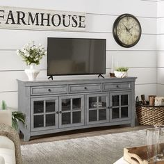 Shop Copper Grove Ahtari TV Console with Glass Doors and Built-in Power Strip - On Sale - Overstock - 19825408 - Antique Grey Modern Tv Cabinet, Tv Cabinet Design, Console Tv, Tv Stand With Glass Doors, Storage Room Organization, Lp Storage, Record Storage, Tv Stand With Storage, Tv Stand Under Mounted Tv