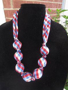 Necktie Necklace - Red, White & Blue Gingham - Upcycled Necktie