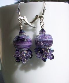 Blueberry Sugar Lampwork Beads and Swarovski Crystal by Alliaks