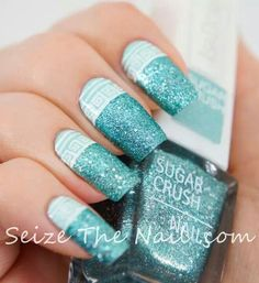 Isadora 'Turquoise Crush' with Essie 'Mint Candy Apple' design overlay (Anyone know where to buy Isadora nail polishes? They are so beautiful and it's driving me nuts I can't find them!)