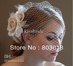 Wholesale Bridal Flower - Buy In Stock White Champane Wedding Hats Birdcage Face Veil Bridal Flower Pearl Feathers Fascinator $11.35 | DHgate