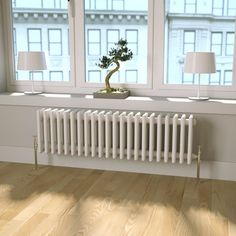 Bathroom Radiators Don't Have to Be Boring! The Butler & Rose Horizontal Designer Column Style White Radiator Is Super Stylish & Beautifully Finished. Bedroom Radiators, Home Radiators, Column Radiators, Cast Iron Radiators, Modern Radiators, Heating Radiators, Flat Panel Radiators, Victorian Radiators, Traditional Radiators