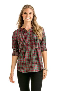 Shop our new Womens's Cotton Cashmere Holiday Plaid Popover.