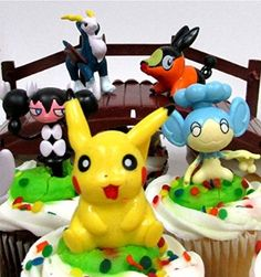 POKEMON GO 18 Piece Themed Birthday Cupcake Topper Set Featuring 12 RANDOM Pokemon Characters and Decorative Themed Accessories
