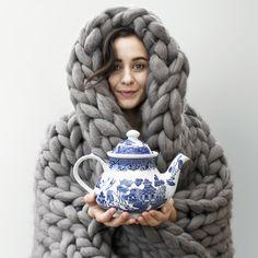 merino wool blanket and vintage tea pot, chunky knit, knit blanket, knitted blanket, merino wool, slow living