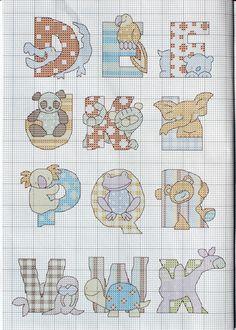 "ru / tymannost - Альбом ""Cross Stitch Collection 187 сентябрь Animal Alphabet 2 of 3 Cross Stitch Letters, Beaded Cross Stitch, Cross Stitch Baby, Cross Stitch Animals, Cross Stitch Embroidery, Embroidery Alphabet, Embroidery Fonts, Cross Stitch Designs, Stitch Patterns"